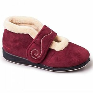 Ladies Women Burgundy Maroon Ankle Slippers House Shoes Indoor Size 3 4 5 6 7 8