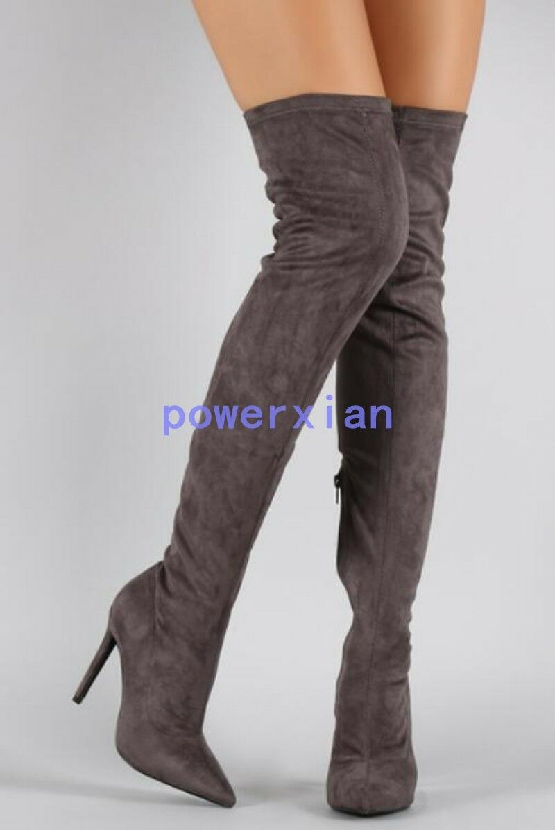 Womens Over Knee Pointy Toe Stilettos Zipper Stretch Boots Europe Long Leg Shoes
