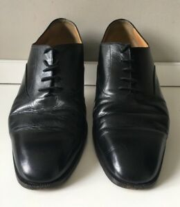 BRUNO-MAGLI-Black-Leather-Oxford-Shoes-Mens-Size-12-5-US-Made-in-Italy