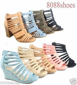 Women-039-s-Fashion-Cute-Strappy-Zipper-Wedge-High-Heel-Sandal-Shoes-Size-5-10-NEW
