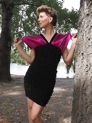 Abito Miniabito S 80er Velluto Shiny Rosa Nero Discoteca True Vintage Dress 80s Glam-mostra Il Titolo Originale