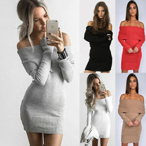 ef763c109c7 Image is loading Womens-Casual-Dresses-Off-Shoulder-Sweater-skirt-Bodycon-