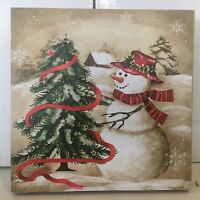 Snowman Christmas Tree Photo On Canvas W Led Lights Wall Art Christmas Decor