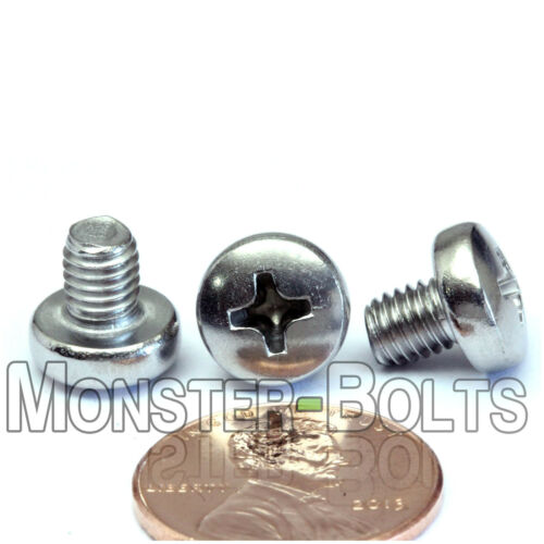 M5 x 6mm  Stainless Steel Phillips Pan Head Machine Screws Cross Recessed A2