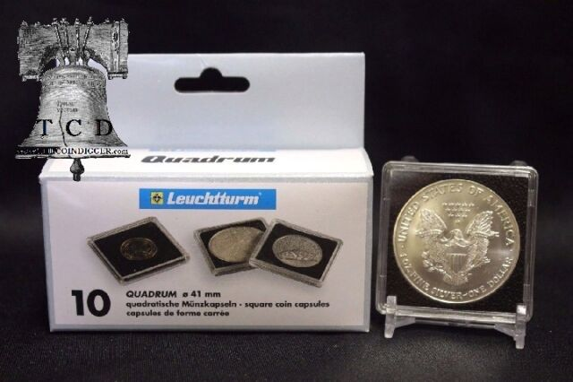 50 Lighthouse Quadrum 41mm Square Coin Capsules US Silver Eagle Loose Fit Snaps