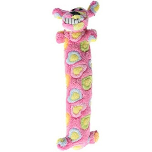 """Loofa Dog Breast Cancer Research 12/"""" Medium Plush Patterned Dog Toy with Squeak"""
