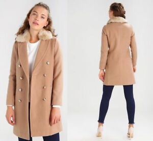 Topshop Black Military Beige Fur Collar Pea Coat Trench Crombie Jacket 4 to 18