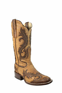 Corral-Ladies-Studs-Tan-Cowhide-Leather-Cowgirl-Boots-7-M