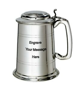 NEW-Personalised-1-Pint-Lidded-Polished-Pewter-Tankard-Any-Message-Engraved