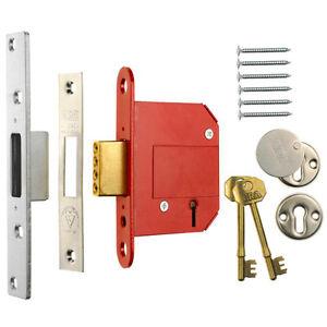 ERA-Fortress-36151-BS-5-Lever-Deadlock-Satin-Chrome-76mm-3-034-Mortice-Door-Lock