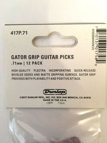 Dunlop Gator Grip Guitar Picks Purple .71 mm 12-Pack For Acoustic Or Electric