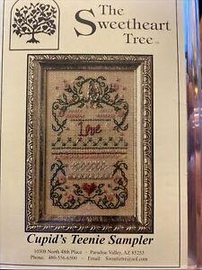 Cupid's Teenie Sampler Cross Stitch Kit The Sweetheart Tree Retired 35 Linen OOP