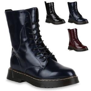 Stiefeletten Lack Stiefel Schuhe Damen Boots Coole Details 818852 Zu Trendy Neu Plateau fIvY6gb7y