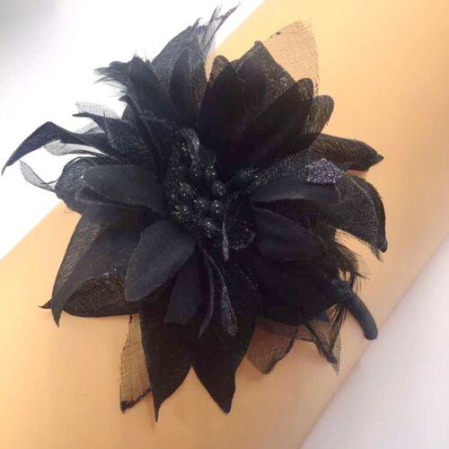 Haarreifen Stirnband Haarband Satin Tiara Diadem Schwarz XXL Blume Federn