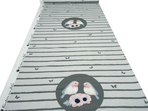 Sustancia Jersey algodón pájaros flores panel stoffpanel 0,75m x 1,40m rosa multicolor