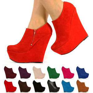 NEW PLATFORM HIGH HEEL WEDGE ANKLE SUEDE SHOE BOOTS SHOES SIZE 3-8 ...