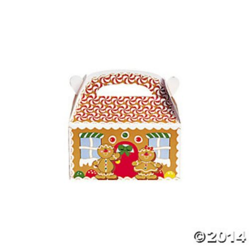 12 GINGERBREAD HOUSE TREAT GIFT BOXES WITH HANDLES Gingerbread Village NEW