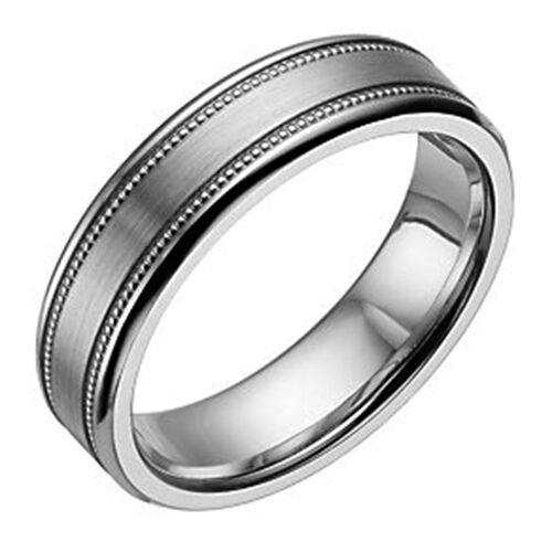 6mm cobalt flat court double milgrain wedding ring - Cobalt Wedding Rings