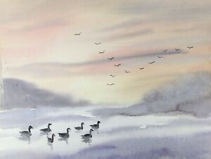 WINTER-LAKE-SCENE-Original-Signed-Painting-by-Diane-Antone-IDEAL-CHRISTMAS-GIFT