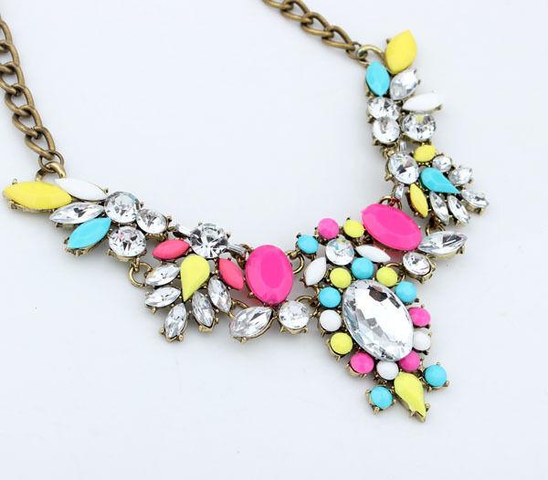 Fashion Jewelry Crystal Chunky Statement Bib Chain Pendant Choker Necklace