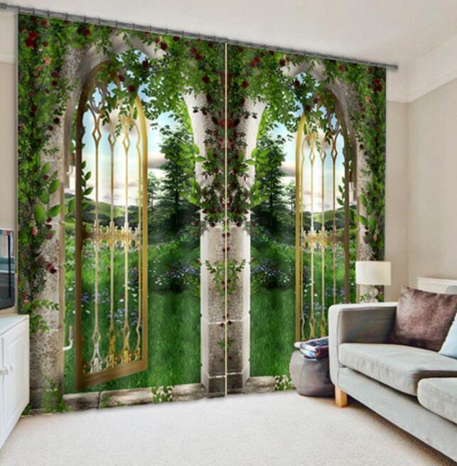 Arco de césped 3D 23 Cortinas de impresión de cortina de foto Blockout Tela Cortinas Ventana au