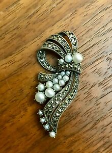 Vintage Art Deco Style Sterling Silver and Gold Brooch
