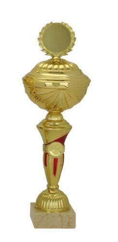 Emblem & Gravur nur 10,95 EUR inkl Einzelpokal 508-04 gold/rot H=37,5 cm