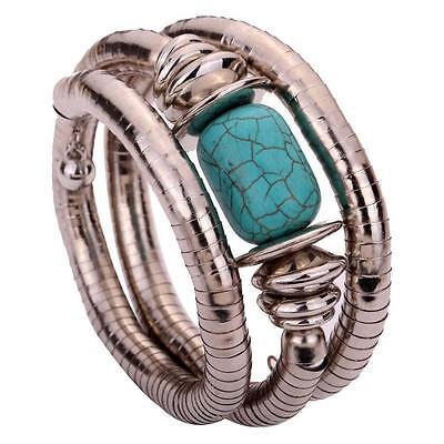 Tibetan Silver Bracelet Women Jewelry Carved Turquoise Bangle Adjustable