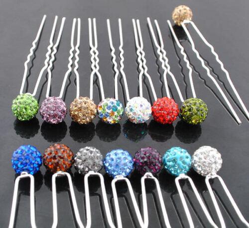 20Pcs Disco Ball Crystal Rhinestone Hair Pins Bride Bridesmaid Ball Prom