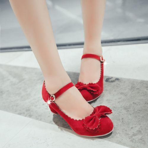 Stylish Plus Size Lolita Womens Sweet Bowknot Ankle Strap Round Toe Block Heels