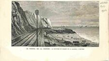 Le Tunnel de la Manche chantier de Forage de la Galerie Douvres UK GRAVURE 1882