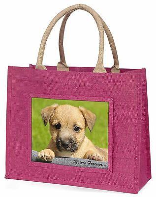 Border Terrier Welpe dir für immer Große Rosa Einkaufstasche Weihnachten,
