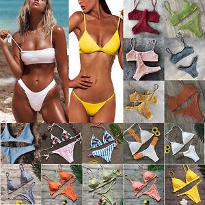 d13a7d4cfc Image is loading Womens-2pcs-Swimwear-Padded-Bra-Thong-Bikini-Set-