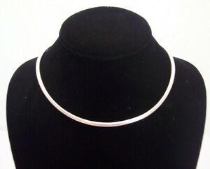 New-Minimalist-Shiny-Silver-4mm-Round-Choker-Collar-Necklace-Wire-CS12