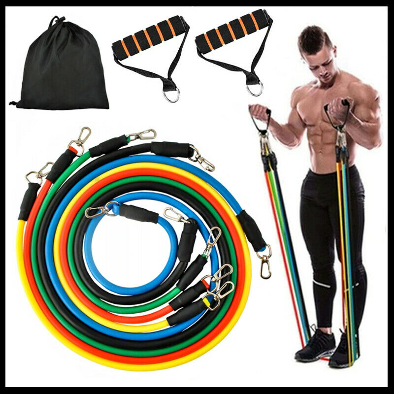 Bandas de Resistencia Gomas Elásticas para Fitness Deporte Gimnasio Kit 5 Bandas