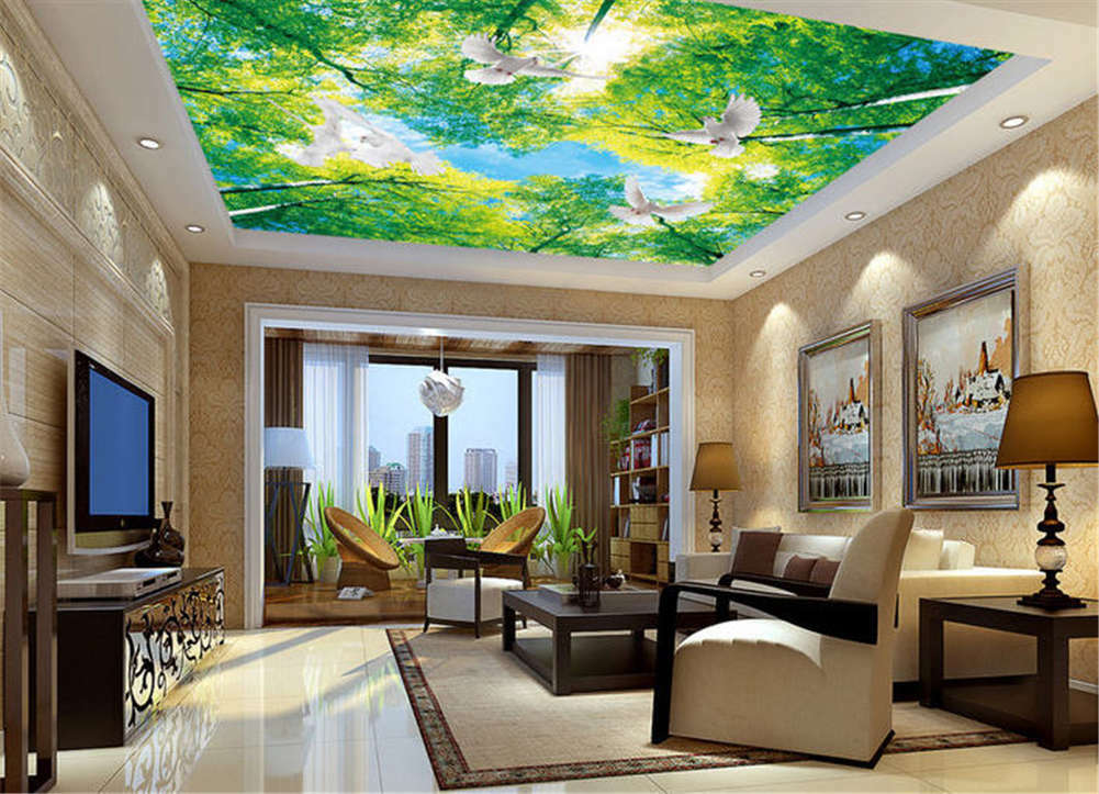 Occult Sunny Leaf 3D Ceiling Mural Full Wall Photo Wallpaper Print Home Decor