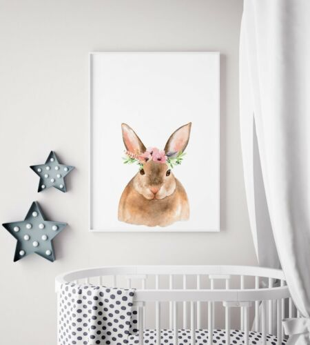 Floral Forest Friends Bunny Rabbit Full Colour Kids Room Wall Art Poster Print