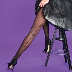 Silky Scarlet seamer tights retro back seamed cuban heel Nude or Black sizes M L