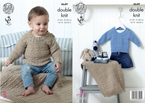 King Cole 4649 Knitting Pattern Childrens Sweaters and Blanket  in Cherished DK