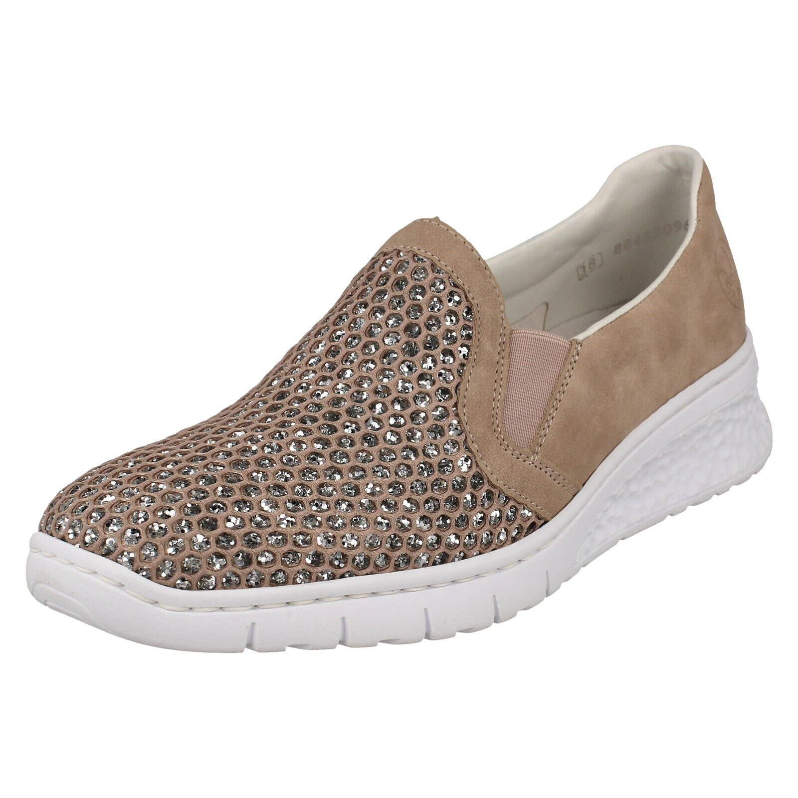 LADIES RIEKER 581T4 CASUAL SLIP ON WEDGE HEEL GLITTER PUMPS LOAFERS SHOES SIZE