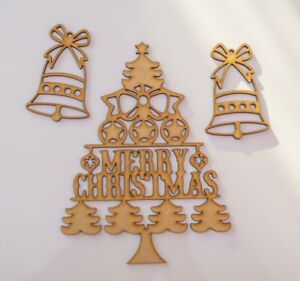 Merry Christmas Writing Images.Details About Christmas Wooden Mdf Merry Christmas Writing Tree With Bells 3 Items Set