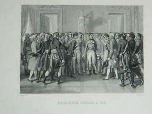 Grabado Bonaparte Consul Para Vida Según Raffet Por Moret De mientras Que