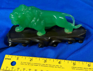 Vita-Hong-Kong-Hard-Plastic-Toy-VTG-Jade-Green-Lion-Art-Deco-Statue
