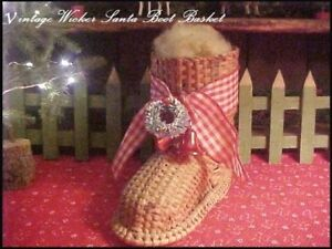 Vtg-Wicker-Santa-Boot-Basket-Xmas-Decor-Bells-Wreath-Primitive-Red-Check-Ribbon