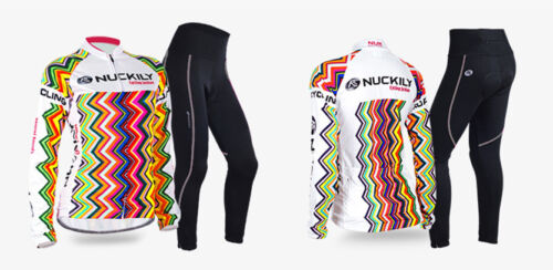 New Womens Road Bike Team Clothing Long Sleeve Jersey Pants Kits Riding Outfits