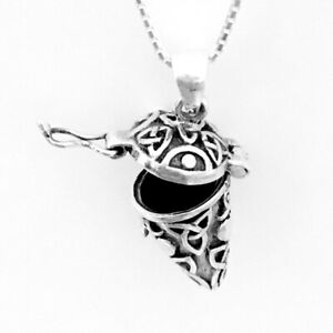 925 Sterling Silver Celtic Knot Hinged Pendant Necklace Triquetras Ashes NEW