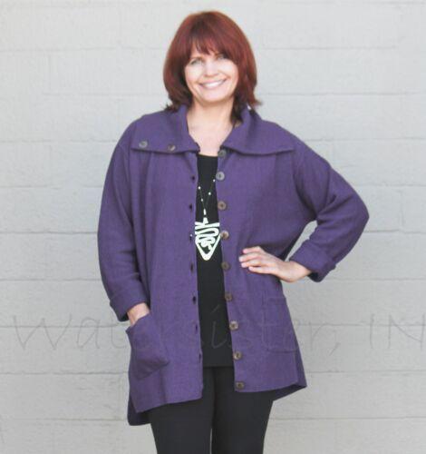 MARGARET WINTERS  CC365  Cotton  BIG COLLAR CARDIGAN  Pocket Sweater  OS  TAUPE