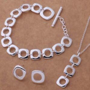 Statement-Halskette-Set-925-Sterlingsilber-Armband-Creolen-Collier-Ohrring