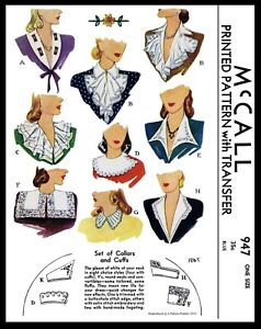McCALL-Pattern-947-9-Collar-Jabot-and-Cuffs-Fabric-Sewing-Patterns-Vintage-40-039-s