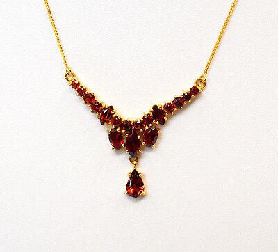 Collier Halskette 8 Karat 333 Gold Gelbgold Granat Granatsteine Granate 5 G Elegant Und Anmutig Schmuck & Accessoires Antiquitäten & Kunst